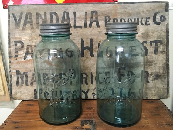 Aqua Ball Mason Jars w Lids for Wedding DIY Project or Canisters Quart