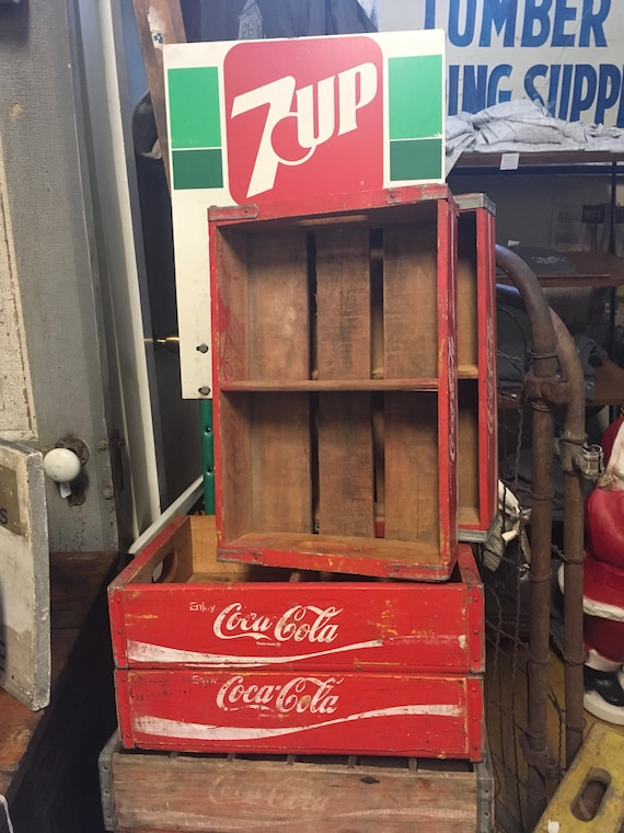 Red Coca-Cola original wood Advertising crates one divider