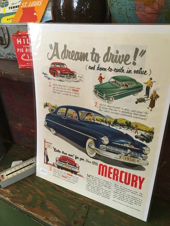 1950 Mercury Advertising- Vintage Ad FREE SHIPPING