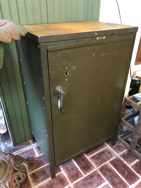 Vintage Green Metal Lyon Gas Station Metal Gas Station Cabinet
