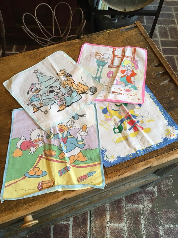 Vintage 1950s Disney handkerchief Set of 4