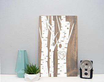 12 x 18 Wood Sign | Carved Initials Birch Tree | Stained and Painted