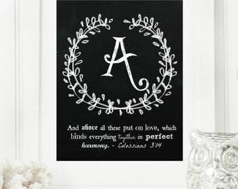 """Instant """"Family Monogram Scripture"""" Chalkboard Wall Art Print 8x10 Typography Letter """"A"""" Printable Home Decor, & Binder Cover"""