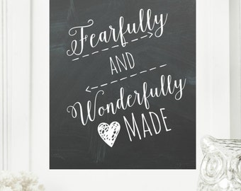 """Limited Edition Digital Print - Instant """"Psalm 139"""" Chalkboard Wall Art Print 8x10 Printable File Encouraging Home Decor"""