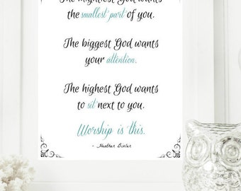 """Instant """"Worship is this."""" Mint and Black Wall Art Print 8x10 Typography Printable Home Decor"""