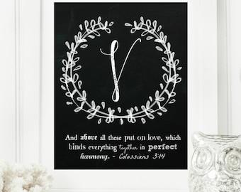 "Instant ""Family Monogram Scripture"" Chalkboard Wall Art Print 8x10 Typography Letter ""V"" Printable Home Decor"