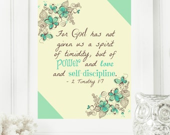 """Limited Edition Digital Print - Instant """"2 Timothy 1:7"""" Mint, Yellow & Brown Wall Art Print 8x10 Typography Printable Home Decor"""