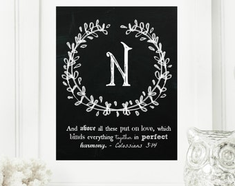 """Instant """"Family Monogram Scripture"""" Chalkboard Wall Art Print 8x10 Typography Letter """"N"""" Printable Home Decor"""