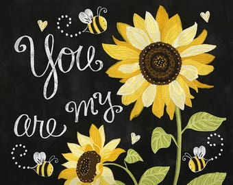 Sunflowers and Bees on black  cotton print fabric panel Timeless Treasures fabric C5344~flowers floral-24 by 44 in