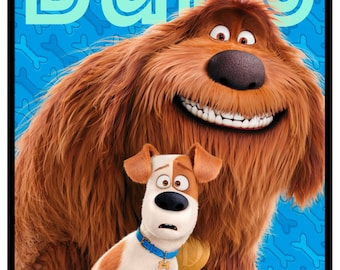 The SECRET LIFE of PETS movie Fabric Panel Quilting Treasures-24 by 44 inches-Dog-Max Duke on blue~24759-B