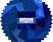 SAPPHIRE SKY 42 5 inch squares 5 Karat GEMS quot Charm pack quot Wilmington Prints cotton fabric royal blue blenders tonal