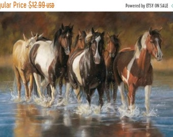 65081acc0a9e moving sale 24% off UNBRIDLED Northcott digitally printed panel cotton  quilt fabric 28 by 42 in-wild horses running in wate-Dp22459-44