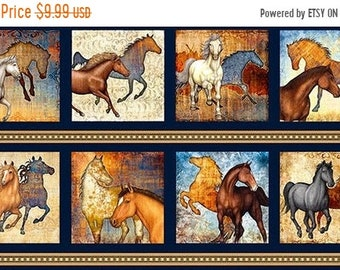 20% off thru 7/10 MUSTANG SUNSET  Fabric Panel Quilting Treasures-horses on navy blue  cotton  23 by 42 in~26479-N