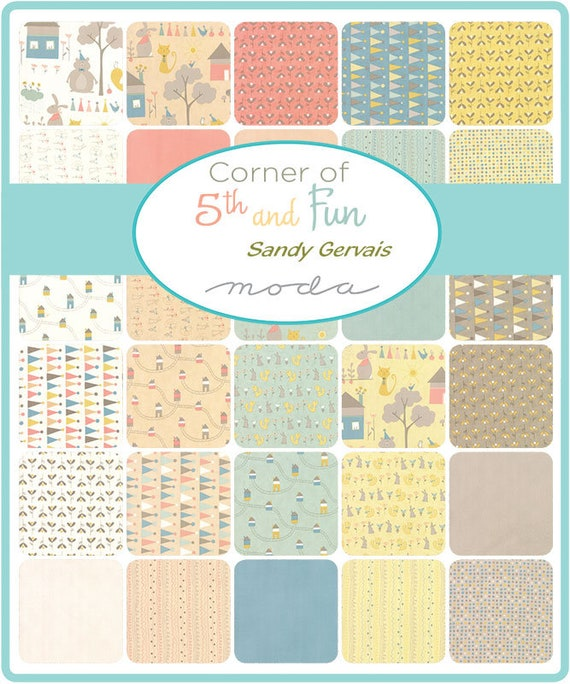 """Moda FABRIC Charm Pack ~ CORNER OF 5TH /& FUN ~ by Sandy Gervais  42-5/"""" squares"""