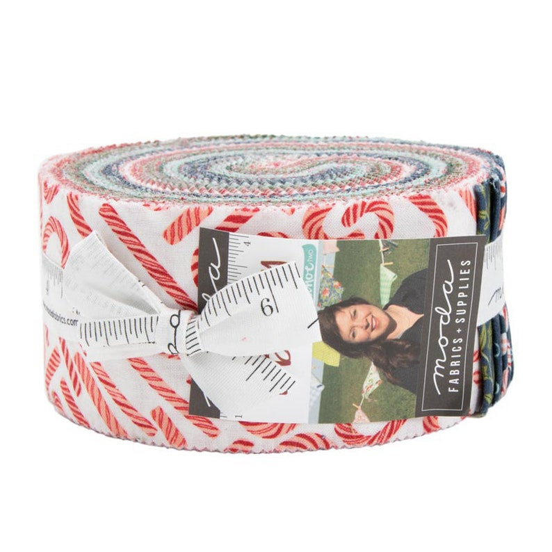 TO BE JOLLY by One Canoe Two Moda Christmas Jelly Roll fabric 40 2.5 inch strips 36040Jr red greencandy cane
