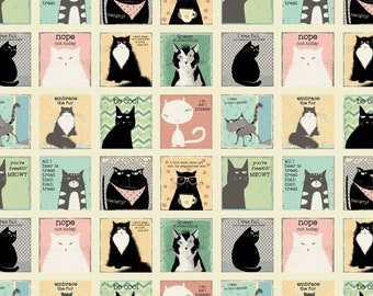 SNARKY CATS Blocks on cream background by the yard y3058-57 Clothworks cotton quilt fabric