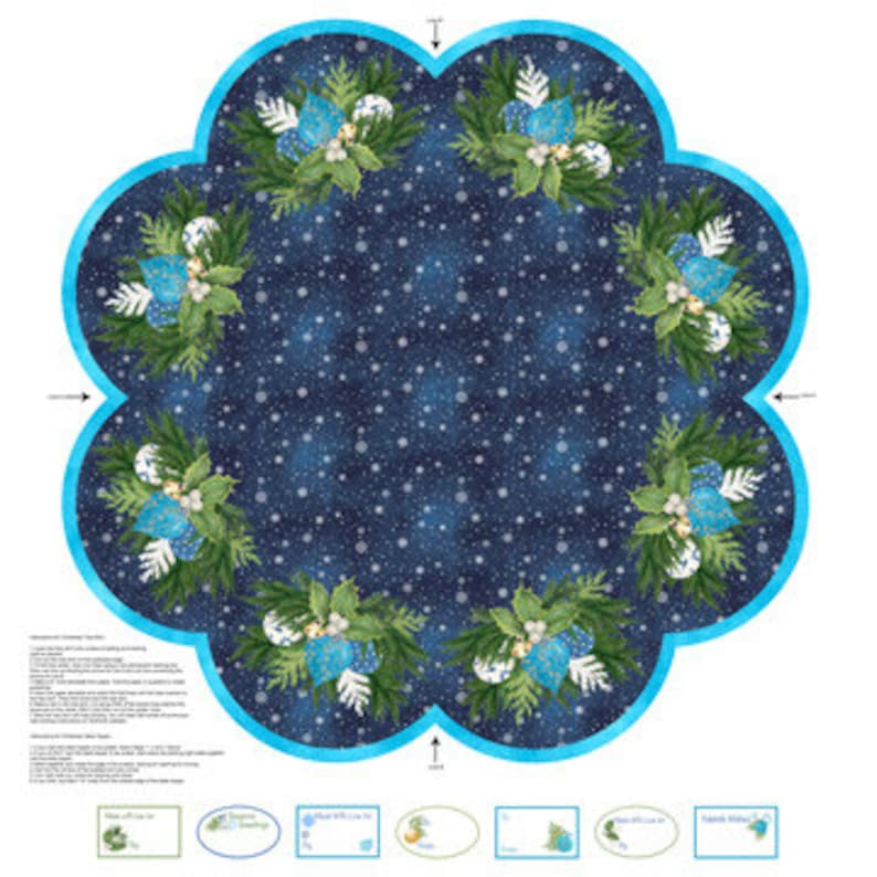 O CHRISTMAS TREE Northcott Digitally printed  panel cotton quilt fabric 41 by 44 inches makes tree skirt or table topper