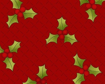20% off thru 7/10 by the yard RING in the HOLLY DAYS green holly leaves berries on red 2095-88 Henry Glass Holly Hill quilters cotton fabric