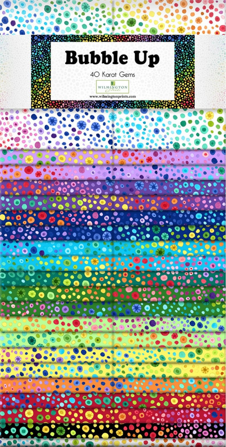 BUBBLE UP Jelly Roll Wilmington fabric 40 2.5 inch strips rainbow dots circles q842-51-842