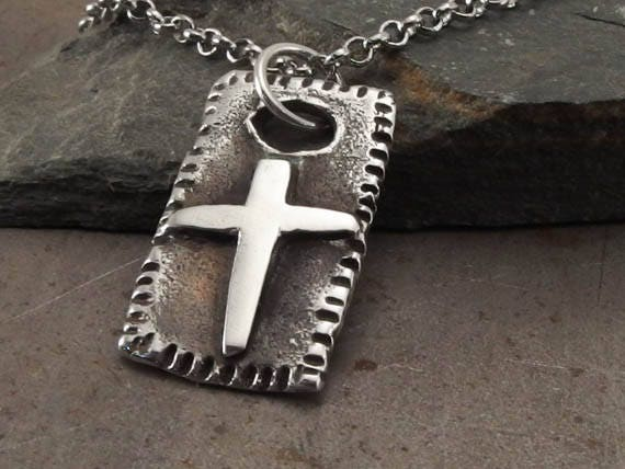 Mens Cross Necklace, Sterling Silver Pendant, Medieval Christian Cross,  Rustic Handmade Religious Jewelry, Gift for Men or Boys