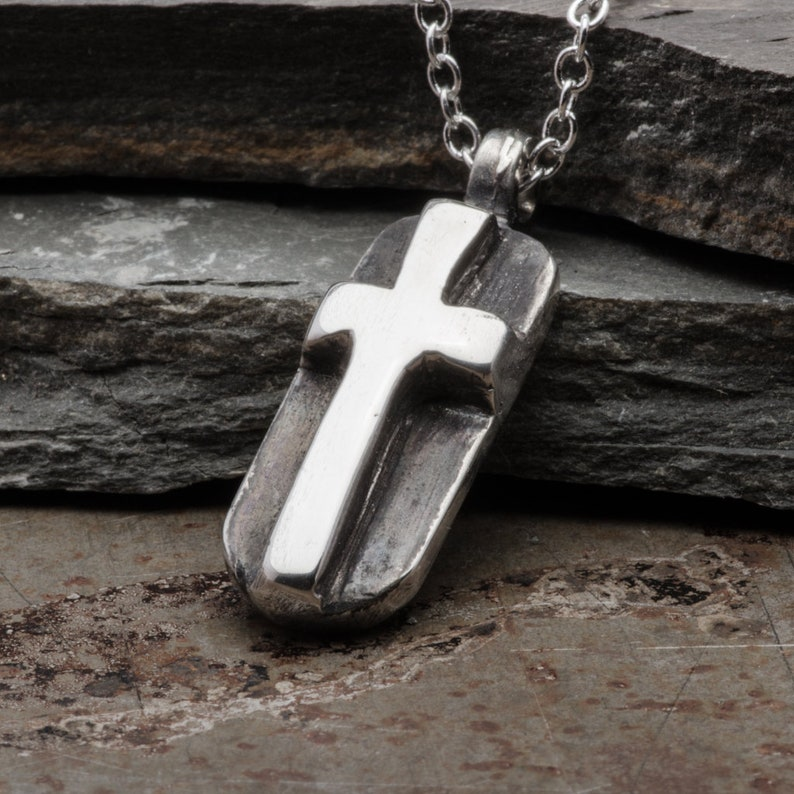 Mens Cross Necklace, Sterling Silver Dog Tag Pendant, Handmade Christian  Religious Jewelry, Gift for Men