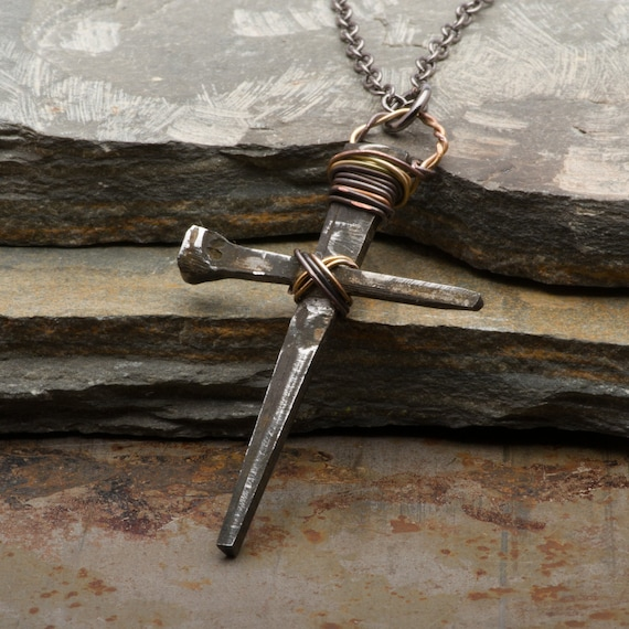 Mens Cross Necklace, Rusty Nails Pendant, Rustic Medieval Handmade  Christian Jewelry, Gift for Him