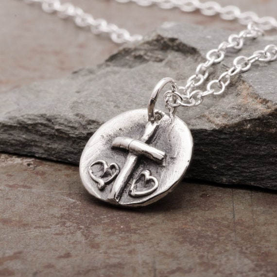 Womens Cross Heart Necklace, Sterling Silver Pendant, Dainty Handmade  Christian Jewelry, Gift for Women or Girls