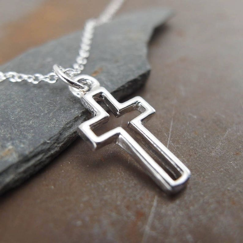 Silver Cross Necklace, Sterling Silver Pendant, Small Handmade Religious  Christian Jewelry, First Communion Gift for Boys or Girls