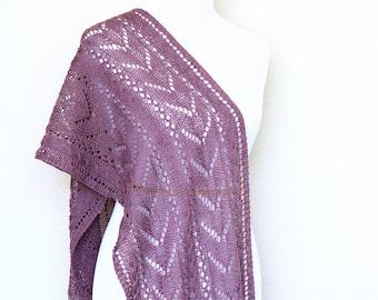 Knit shawl, lace stole, Leola wrap, Lace shawl, knitted stole, knitted shawl, mauve shawl