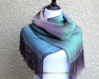 Handwoven scarf, pashmina scarf, gradient color green blue brown long women scarf with fringe