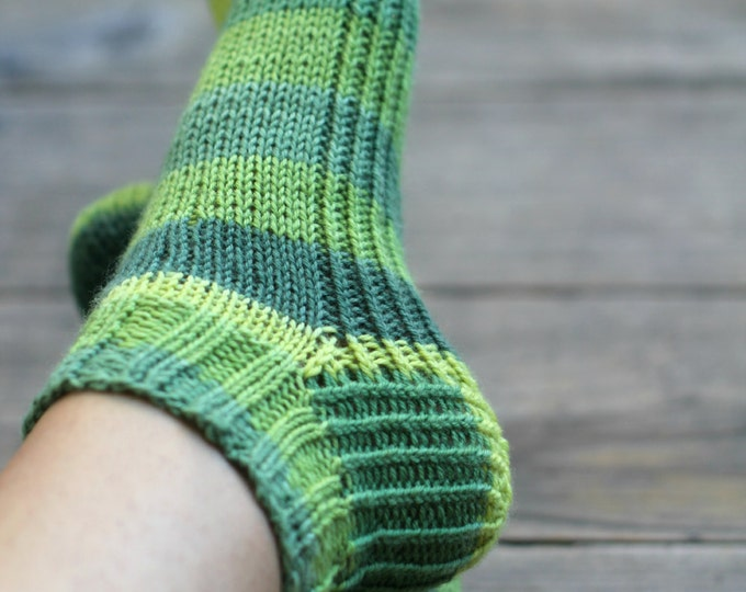 Knit socks, striped socks, ankle socks for women forest green socks, gift for her