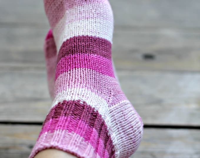 Knit socks, handknit socks, pink socks for women striped socks wool socks, gift for her