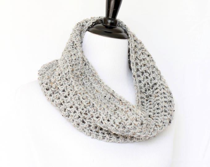 Chunky cowl, crochet cowl, infinity scarf, knit cowl, crochet neckwarmer, loop scarf, infinity loop, crochet scarf, grey cowl,