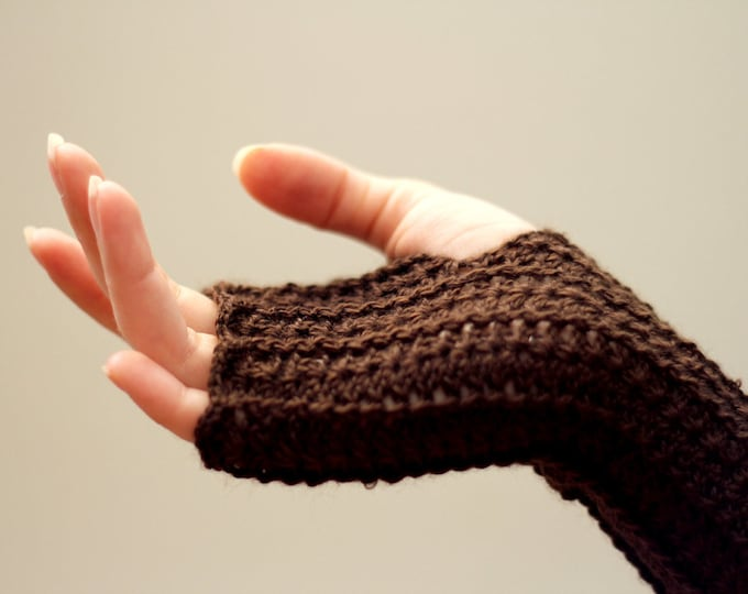 Crochet chocolate fingerless gloves free shipping