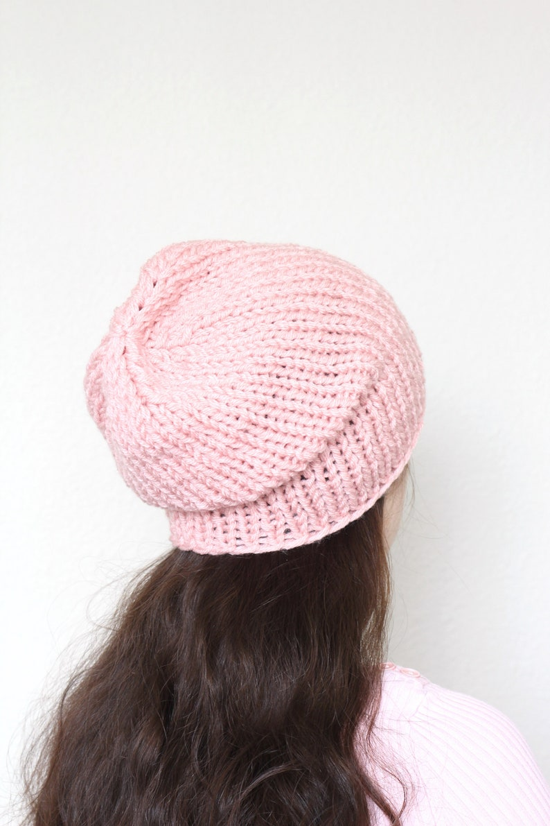 6bf71dff407 Chunky beanie slouchy hat Knit beanie hat pink hat unisex