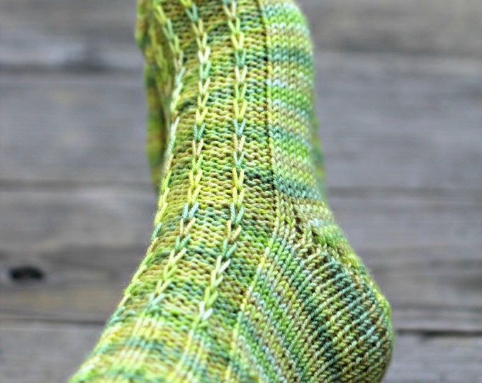 Hand knit socks, wool socks, yellow green wool for women, gift for her,