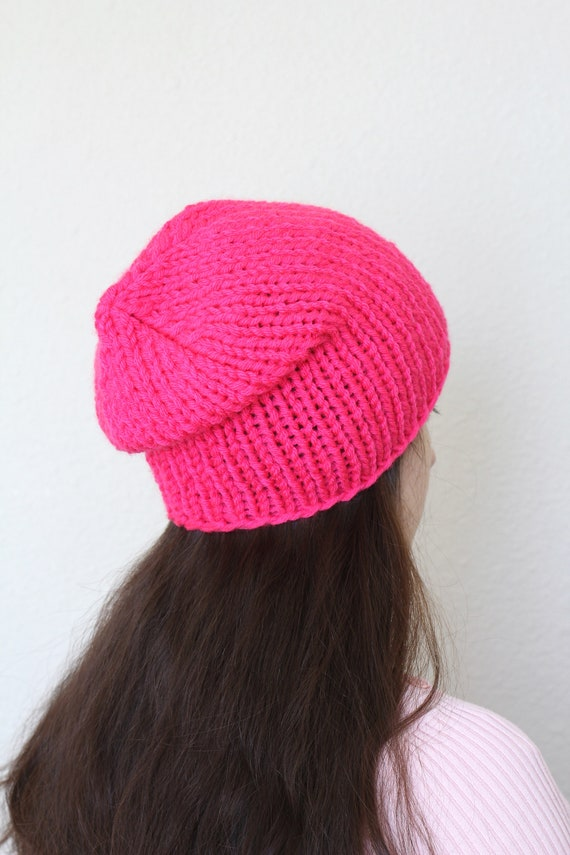 Chunky beanie slouchy hat Knit beanie hat hot pink hat  50516a38d70