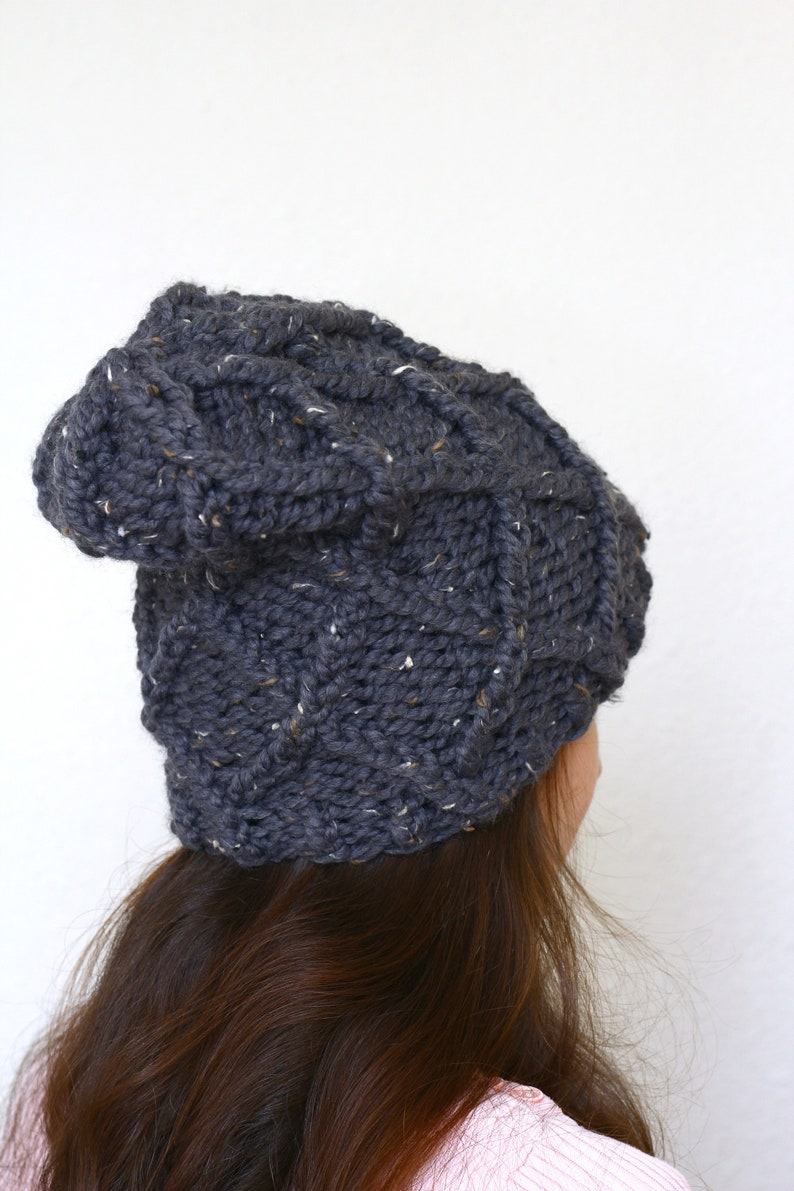 877ac5a43e5 Knitting pattern for slouchy hat beanie hat chunky hat