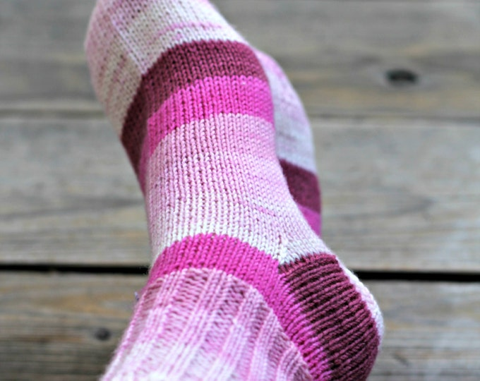 Knit socks, handknit socks, women socks, striped socks, wool socks for women, gift for her