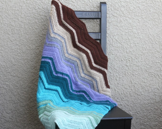 Crochet baby blanket, crochet blanket chevron blanket colorful mint blue lavender brown beige chocolate newborn blanket baby shower gift