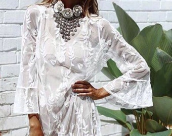 f48df0f528b1f Think Romantic Sheer Lace Tunic, Bohemian Embroidered Lace Tunic Dress,  Boho style crochet lace coverup, one size fits all, white