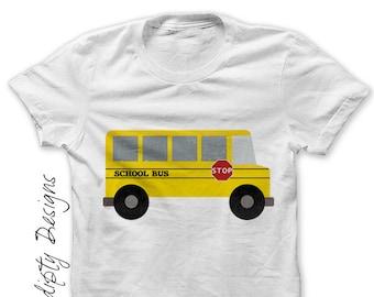 School Bus Shirt PDF - Bus Iron on Transfer / Kids First Day of School Tshirt / Womens Teacher Shirt / Yellow School Bus / Toddler Tee IT509