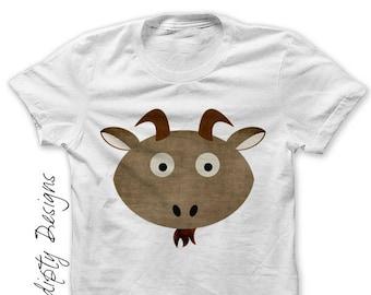 Goat Iron on Transfer - Kids Petting Zoo Shirt / Toddler Barnyard Birthday Party / Goat Digital Iron on / Girls Goat Tshirt / Clothing IT259