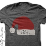 Christmas Iron on Transfer - Iron on Santa Hat Shirt / Christmas Shirt for Boys / Personalized Tee / Toddler Santa Shirt / Christmas Pajamas