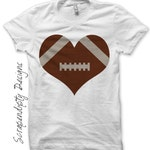 Iron on Football Shirt PDF - Sports Iron on Transfer / Boys Football Heart Shirt / Kids Sports Birthday Party / Love Football Tshirt IT251-P