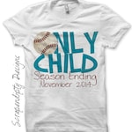 Iron on Only Child Shirt PDF - Announcement Iron on Transfer / Only Child Season Ending / Big Brother Baseball Shirt / Cute Kids Clothing