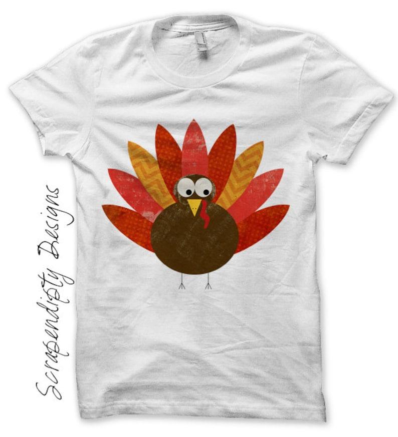 Iron on Turkey Shirt PDF  Thanksgiving Iron on Transfer / image 0