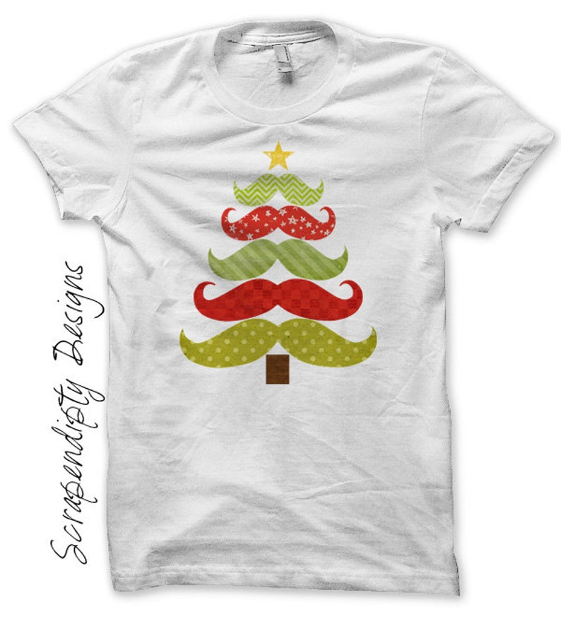 Iron on Christmas Shirt Mustache Tree Iron on Transfer Tee image 0