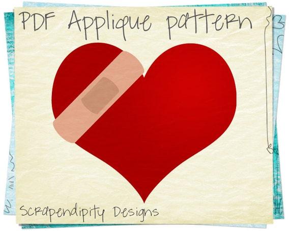 Items similar to bandaid heart applique pattern healing applique