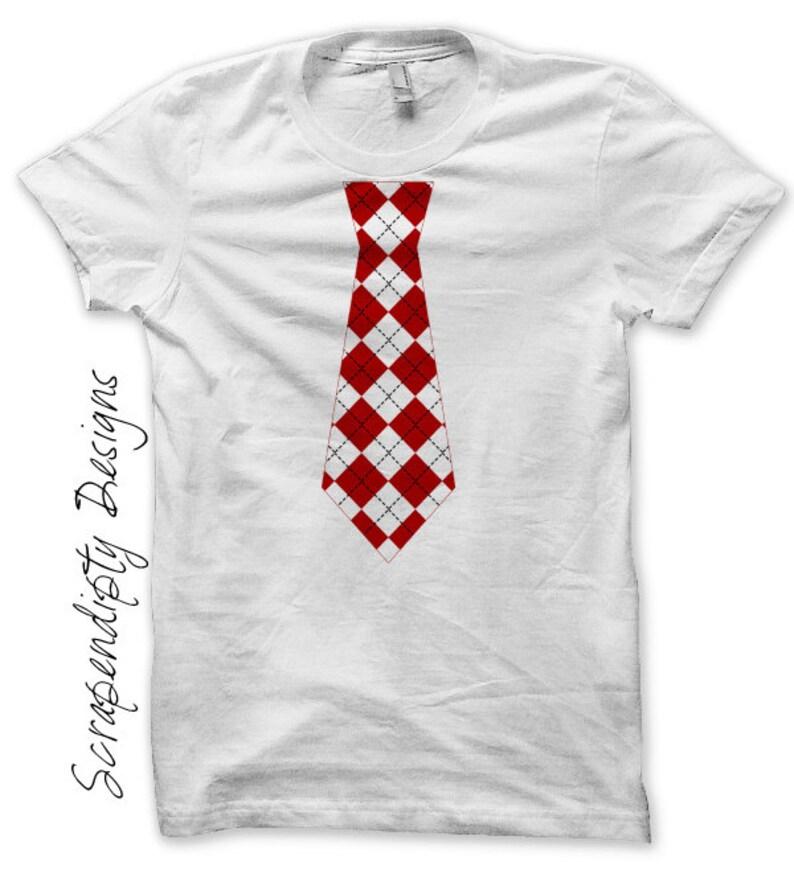 Red Tie Iron on Transfer Baby Boy Tie Shirt Argyle Red Tie image 0